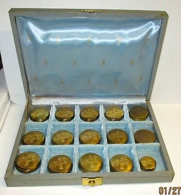 15 Vintage Cara Nome Langlois L.A. Rouge Compacts & Contents & Display Case/Box