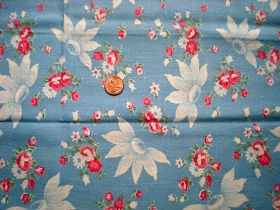FLORAL on BLUE Vtg FEEDSACK Quilt Sewing Dol lClothes Craft Cotton Fabric