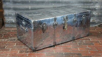 Antique Industrial Polished Aluminium Aviation Trunk With Original Tray