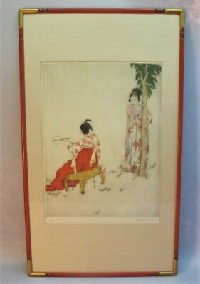 Rare Original Signed ELYSE ASHE LORD Large-Scale Etching  c. 1950  Orientalist