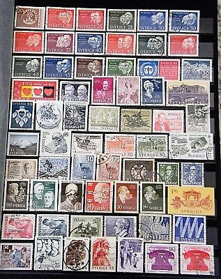 SWEDEN - Mixed lot of 64 Stamps, most Good - Fine Used, LH