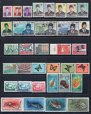 INDONESIA - Lot of 34 Stamps incl Sets or Part Sets Good Used to MLH