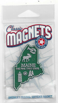 MAINE  ME   THE PINE TREE   STATE   OUTLINE MAP MAGNET in Souvenir Bag, NEW