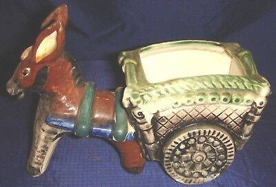 RP1358 Vtg Occupied Japan Ceramic Donkey & Cart Planter Hand Painted