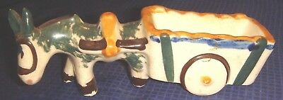 RP1363 Vtg Occupied Japan Ceramic Donkey & Cart Planter Hand Painted