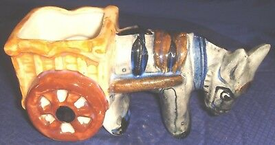 RP1315 Vtg Occupied Japan Ceramic Donkey & Cart Planter Hand Painted