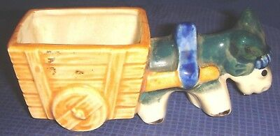 RP1359 Vtg Occupied Japan Ceramic Donkey & Cart Planter Hand Painted