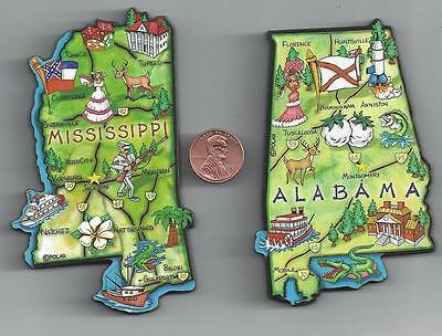 MISSISSIPPI  MS and  ALABAMA  AL   ARTWOOD JUMBO STATE MAP MAGNET SET -  2 NEW
