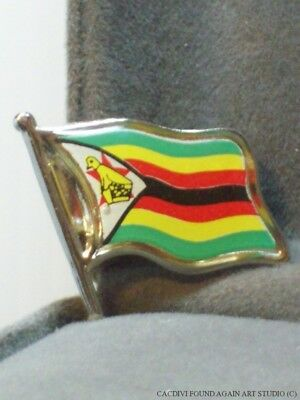 Vintage Africa Flag Lapel Pin African Republic of Zimbabwe Travel Souvenir Badge