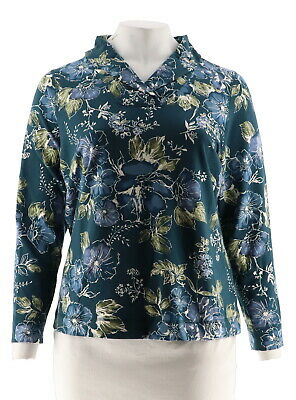 122d83b369a Denim   Co French Terry Shawl Collar Long Slv Top Fall Teal L NEW A299210