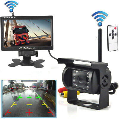 "Wireless IR Rear View Back up Camera Night Vision System for RV Truck+7"" Monitor"