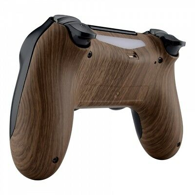 Wood Grain Soft Touch Back Housing Case Shell for PS4 Slim Pro Game Controller