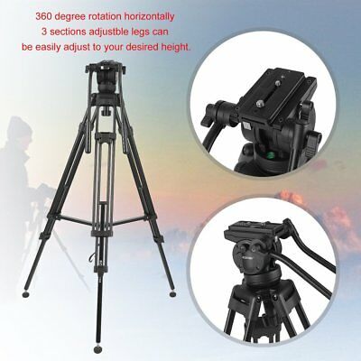 ZOMEI VT666 Heavy Duty DV Video Camera Camcorder Tripod Fluid Head Kit 72 Inch