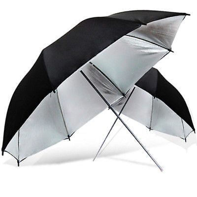 "2 x Photo Studio 40"" Double Layer Black/Silver Light Reflective Photo Umbrellas"