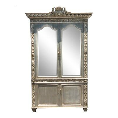 Huge Carved Designer Silver-leaf Showcase Cabinet