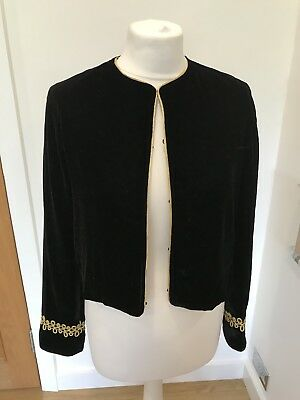 BNWT Zara Black Velvet Cropped Gold Trim Blazer Jacket Size M