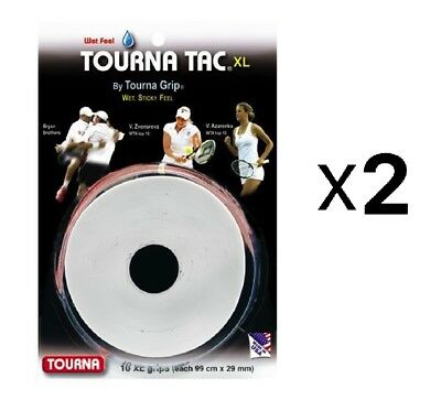 Tourna Tac Tennis Racquet Over Grip 10 XL White Overgrips Absorbent (2-Pack)