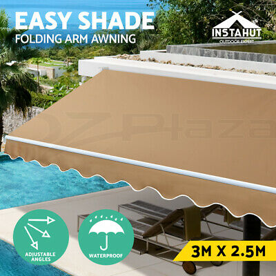 Instahut 3M x 2.5M Outdoor Folding Arm Awning Retractable Sunshade Canopy Beige