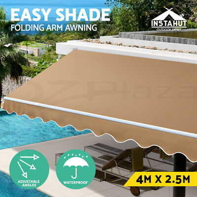 Instahut 4M x 2.5M Outdoor Folding Arm Awning Retractable Shade Sail Beige