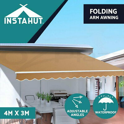 Instahut 4M x 3M Outdoor Folding Arm Awning Retractable Sunshade Canopy Beige