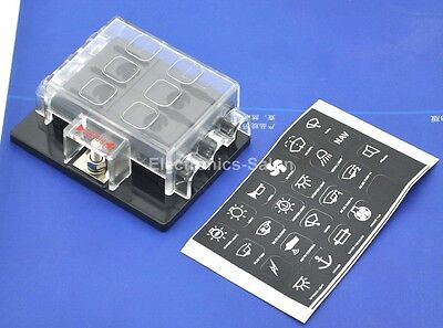 6 Position ATO/ATC Fuse Panel, W/Cover and Label, Fuse Block. x1