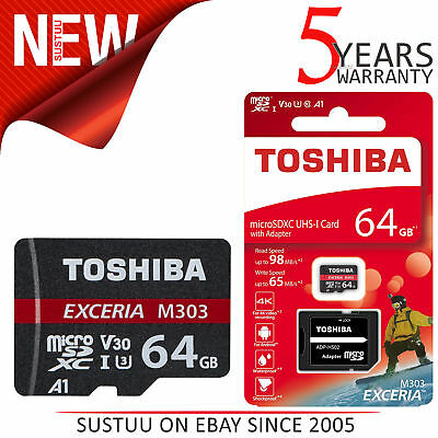 Toshiba Exceria M303 64GB U3 Class 10 MicroSDXC Memory Card with Adapter│98MB/s│