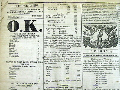 5 1840 display newspapers Whig Party WILLIAM HENRY HARRISON ELECTED US PRESIDENT