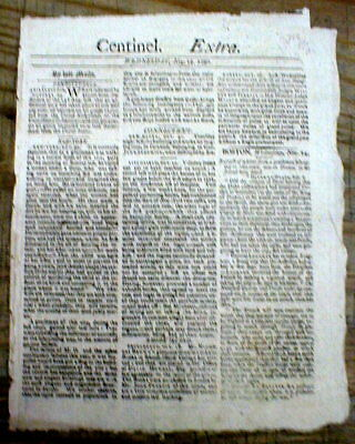 "1792 BOSTON Massachusetts NEWSPAPER ""EXTRA"" with a RUNAWAY SLAVE REWARD AD"