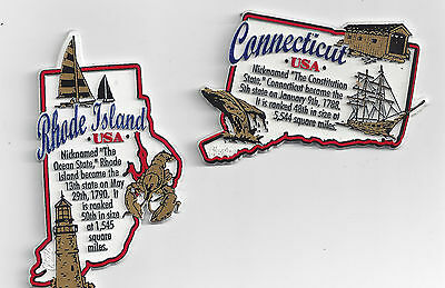 RHODE ISLAND and CONNECTICUT STATE MAP MAGNETS   EDUCATIONAL  5-COLOR SET OF 2