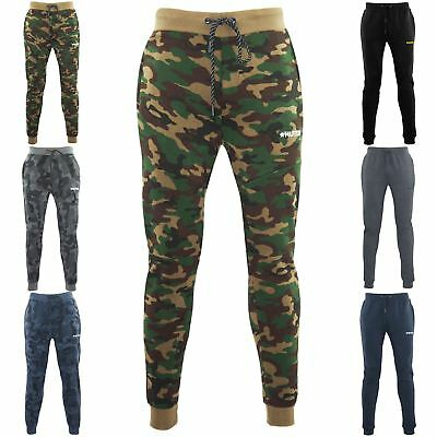 Mens Camouflage Hutch Elasticated Waist Jog Bottoms Pockets Gym Cuffed Trousers