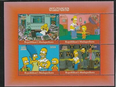 Madagascar 7671 - 2018 THE SIMPSONS  perf sheet of 4 unmounted mint