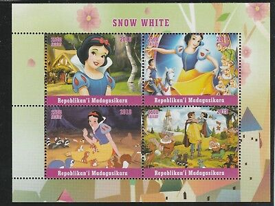 Madagascar 7675 - 2018   SNOW WHITE  perf sheet of 4 unmounted mint