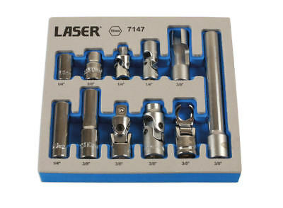 "LASER 11 Piece 1/4"" & 3/8"" Sq Dr 10mm Master Socket/Adaptor Set + Tray 7147"