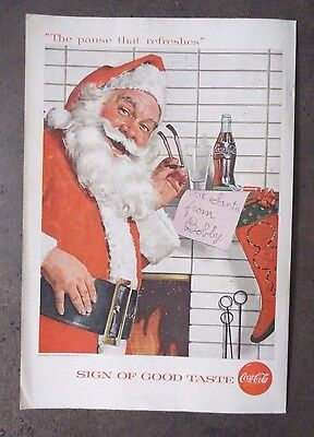 1957 Coca Cola COKE Ad - Santa by the Chimney reading a note from Bobby