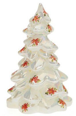 Mother of Pearl Carnival Christmas Tree Handpainted Poinsettias - Medium Mosser