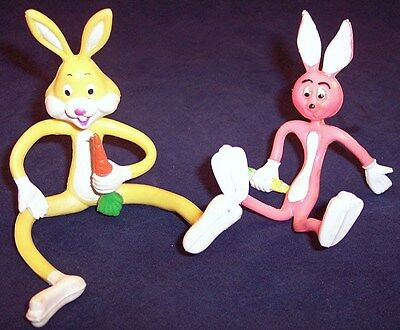 Lot of 2 Bendy Bendable Posable Bunnies Rabbits with Carrots, 1 is Russ