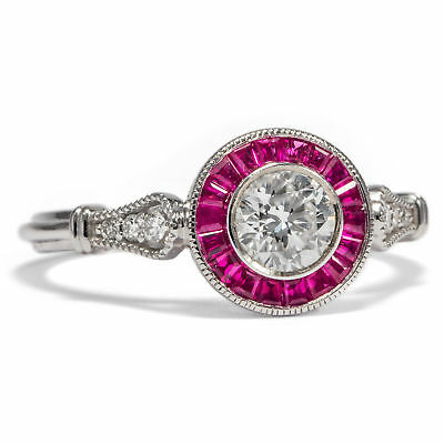 Halo Effekt! Hochfeiner 0,46 ct Diamant & Rubin RING in Platin Brillant / Ruby