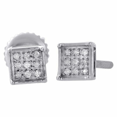 .925 Sterling Silver Diamond Studs Mini 5.10mm 4 Prong Square Earrings 0.05 Ct.