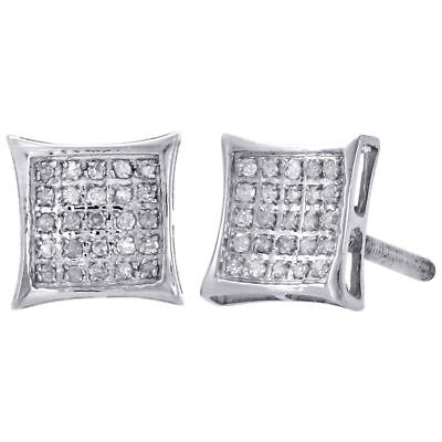 .925 Sterling Silver Real Diamond Pave Studs 8.30mm Mini Kite Earrings 0.17 Ct.