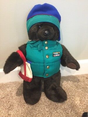 RARE LL Bean Bear with vest, hat and tote EUC Look Tote is Rare