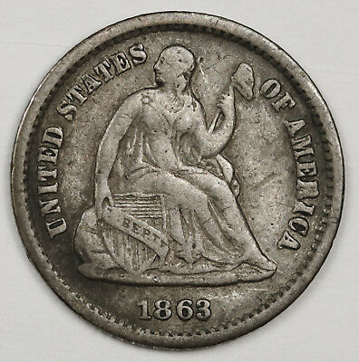 1863-s Liberty Seated Half Dime.  Civil War Era.  Fine.   128502