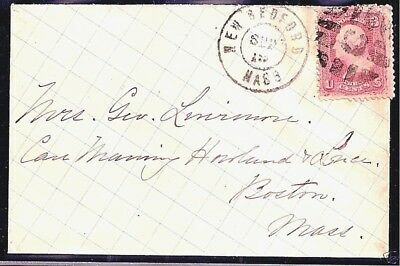 """US #65 w/ FANCY """"C-IN-GRID"""" CANCEL ~ S-E #GE-P 27..........ON NEW BEDFORD COVER"""