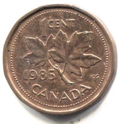 1985 Canadian Maple Leaf Multi-sided One Cent Coin - Canada Penny