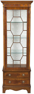 Vintage Antique Style Tall Narrow Glass Display Cabinet Case Drawers Adjustable