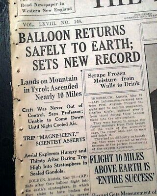 1st BALLOONING FLIGHT to Stratosphere Auguste Piccard 1931 Original Newspaper