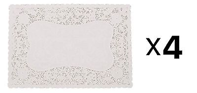 """Fox Run 9.75"""" x 14.5"""" Rectangle White Lace Paper Doily, Kitchen (4 Packs of 12)"""