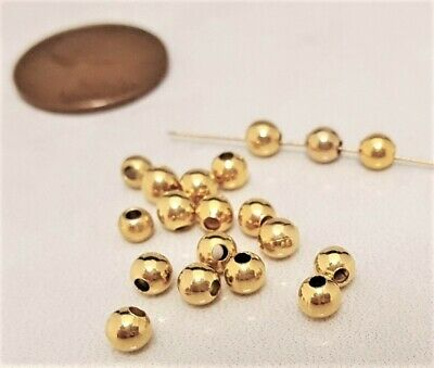 100 VINTAGE GOLD PLATED BRASS SMOOTH ROUND 4mm. METAL BEADS N532