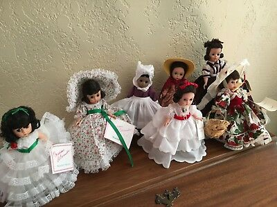 """lot of 7 Gone with the Wind  8"""" Madame Alexander dolls"""
