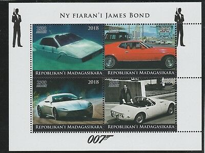 Madagascar 7679 - 2018   JAMES BOND'S CARS   perf sheet of 4 unmounted mint