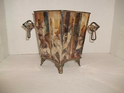 Unusual Art Nouveau Silver Plate Footed Square Panel Urn Flower Vase Key Handles